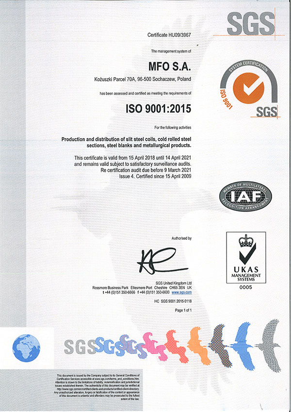 MFO S.A. Certyfikat ISO 9001:2015 ENG