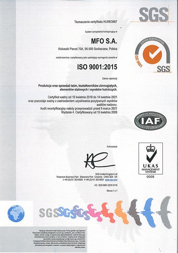 MFO S.A. Certyfikat ISO 9001:2015