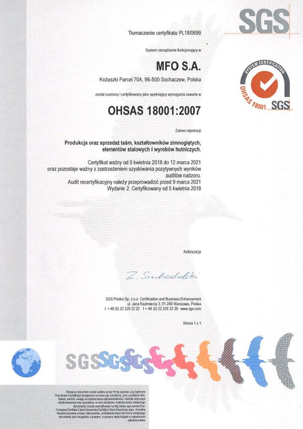 MFO S.A. Certyfikat OHSAS 18001:2007