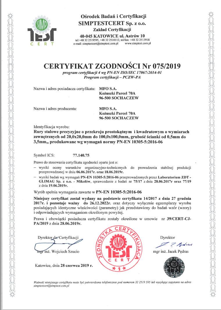 Certyfikat Zgodności Nr 075/2019