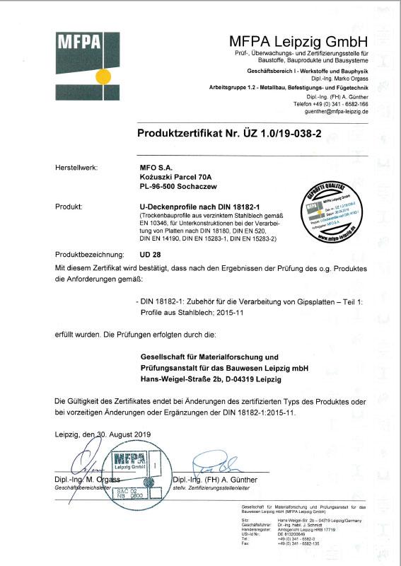UD 28 U-Deckenprofile nach DIN 18182-1