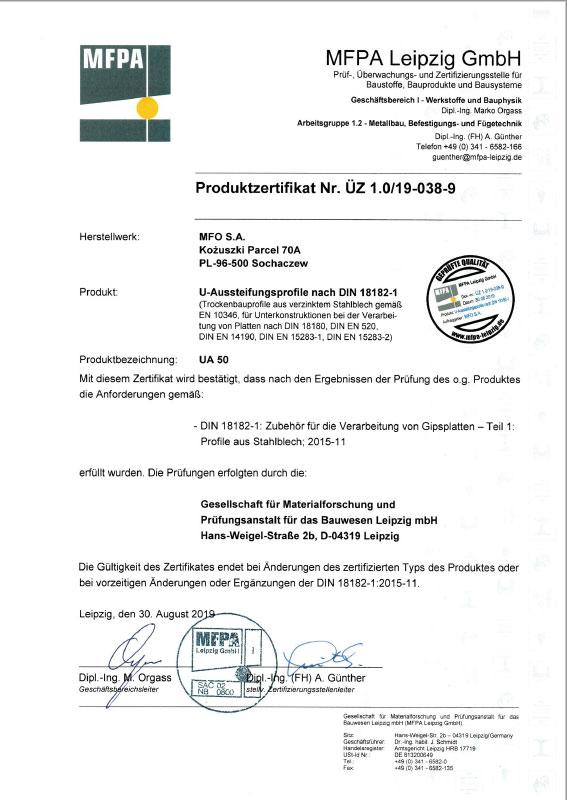 UA 50 U-Aussteinfungsprofile nach DIN 18182-1