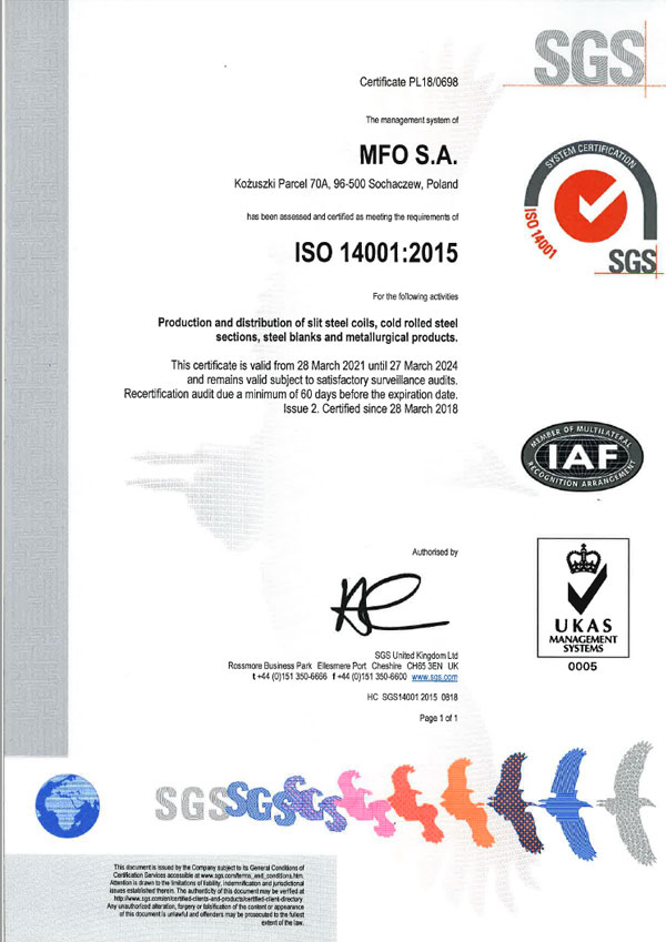 MFO S.A. Certyfikat ISO 14001:2015 ENG