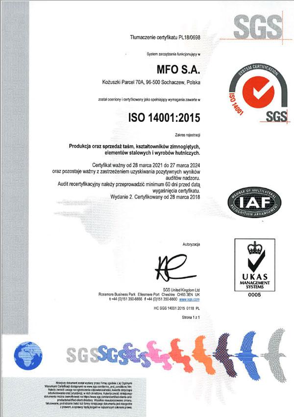MFO S.A. Certyfikat ISO 14001:2015