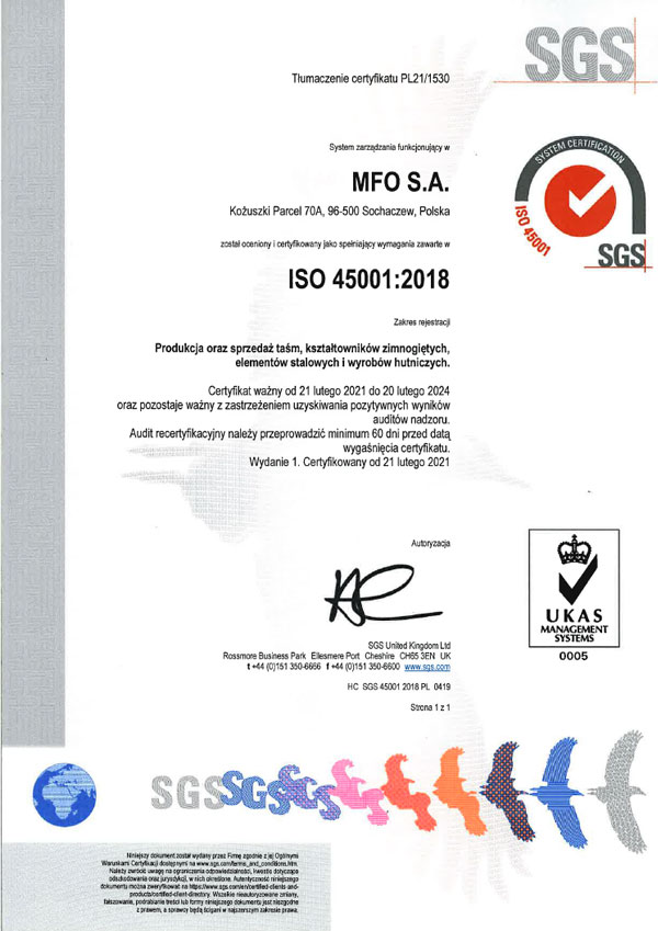 MFO S.A. Certyfikat ISO 45001:2018