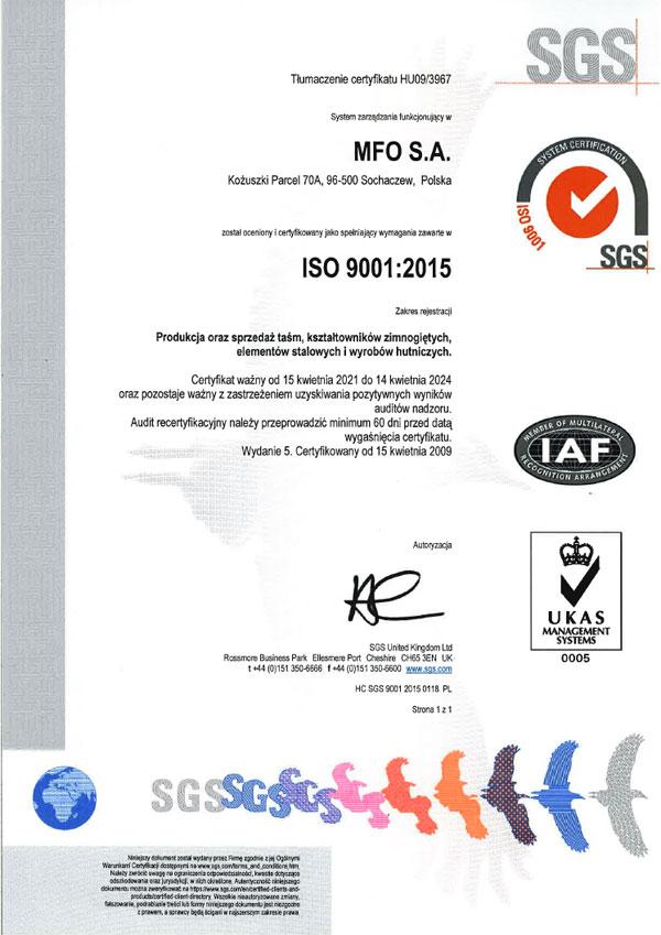 MFO S.A. Certyfikat ISO 9001:2015 PL
