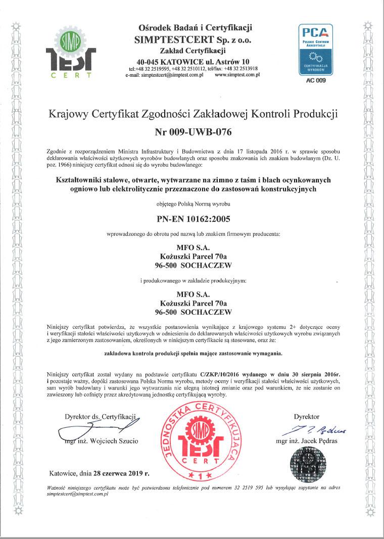 Certyfikat Zgodności Nr 009-UWB-076