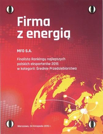 MFO finalistą rankingu najlepszych polskich eksporterów 2015
