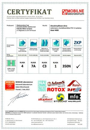 MFO S.A. Certyfikat Fabryka Okien na Żywo