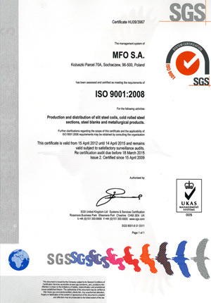 MFO S.A. Certyfikat ISO 9001:2008 ENG