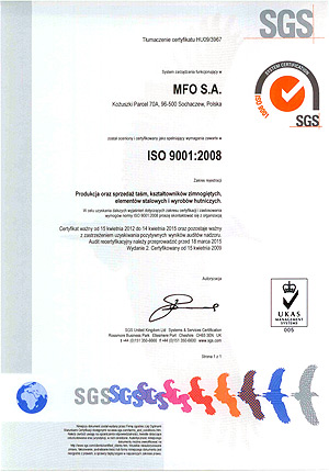 MFO S.A. Certyfikat ISO 9001:2008